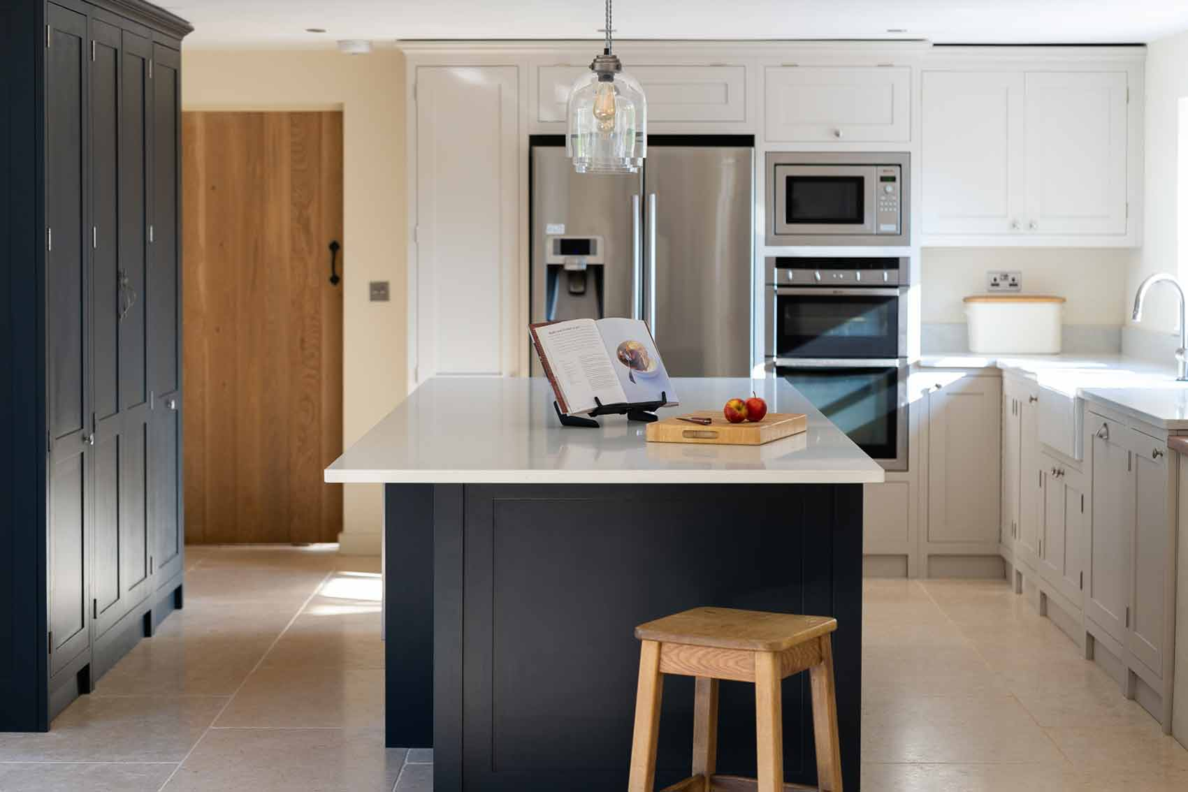 Grey & Ivory shaker kitchen with island by Olive and Barr