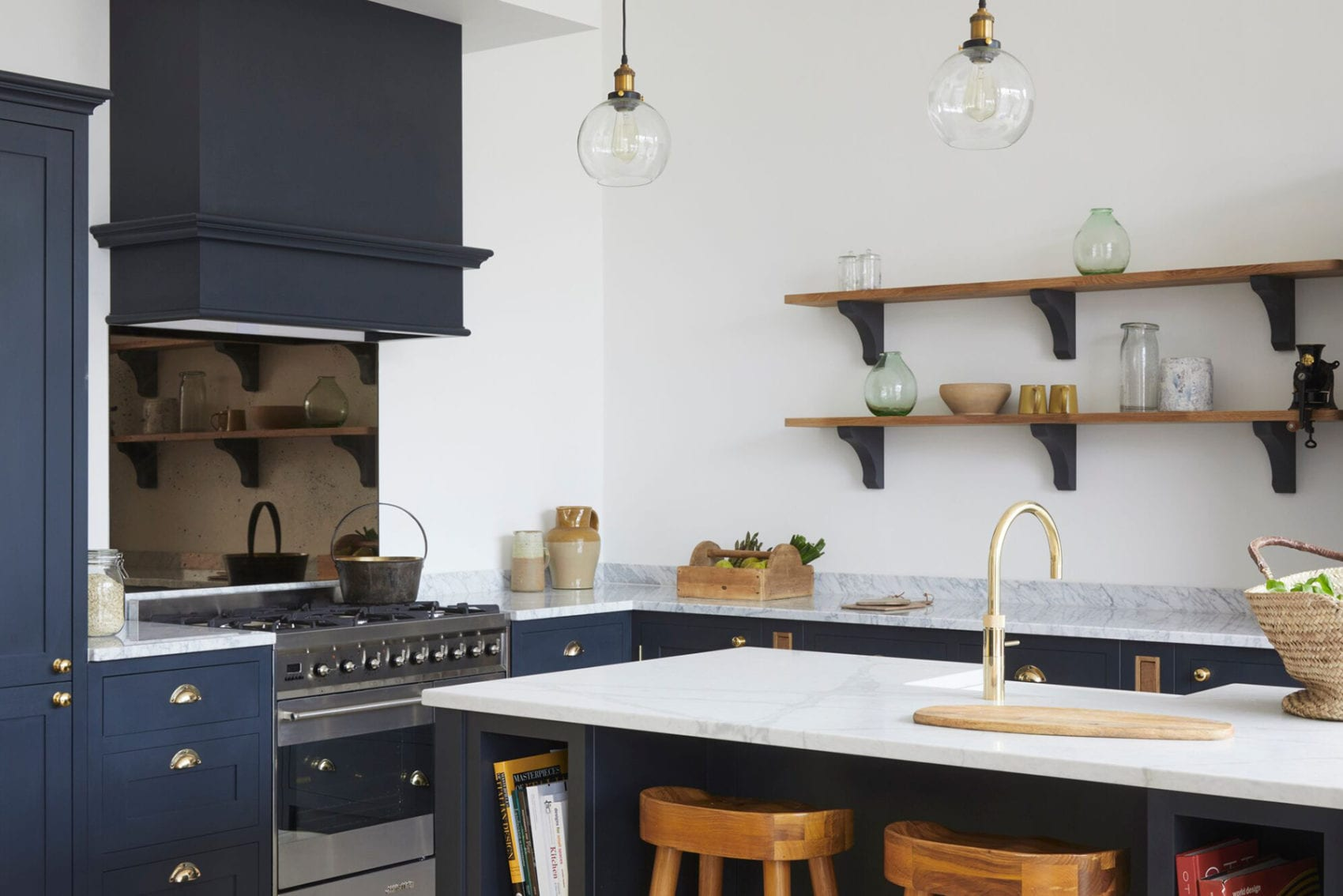 Malvern Showroom navy blue shaker kitchen with stone worktop